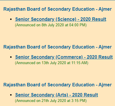 RBSE Class 12 Result 2020 - 1