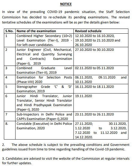 SSC Exam 2020 Revised Dates