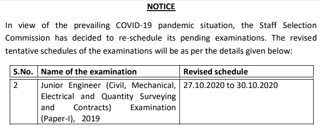 SSC JE Exam Date Tier I 2019 -2020 Revised