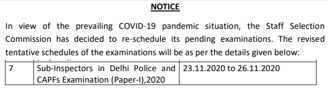 SSC CPO 2020 Exam Date Revised