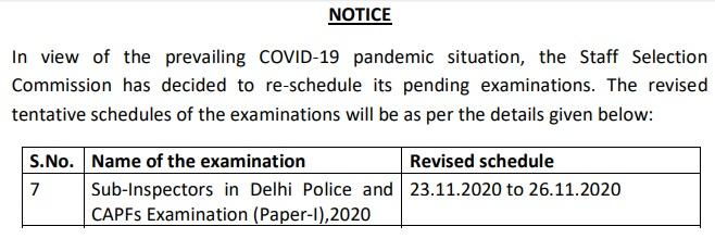 SSC CPO Exam Date 2020 Revised