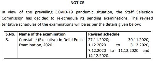 SSC GD Constable Exam date 2020