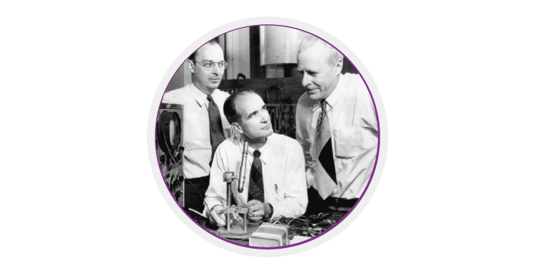 John Bardeen, William Shockley and Walter Brattain, the inventors of the transistor.