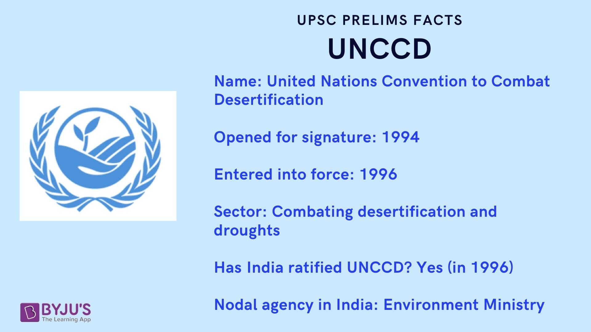 UPSC PRELIMS FACTS - UNCCD