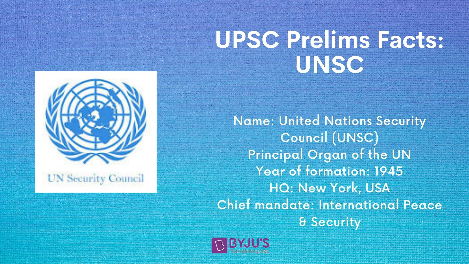 UPSC Prelims Facts - UNSC