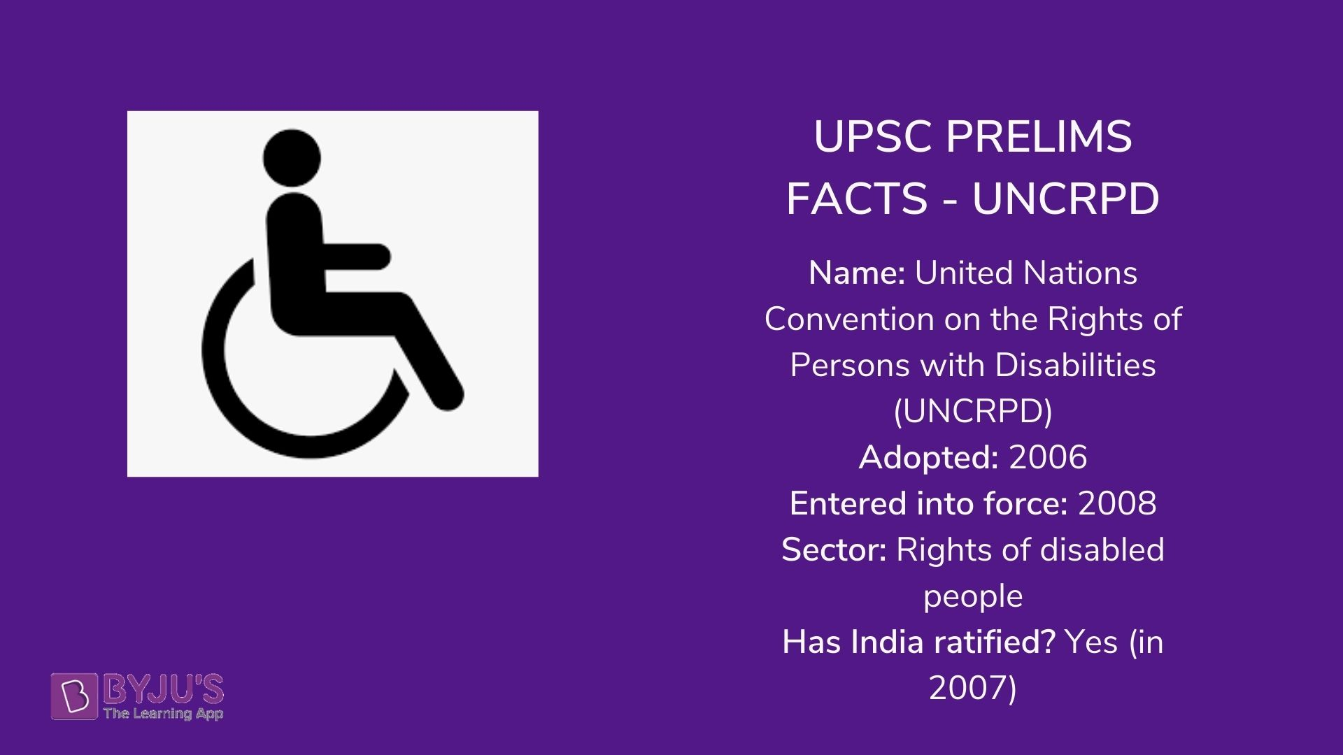UPSC PRELIMS FACTS - UNCRPD