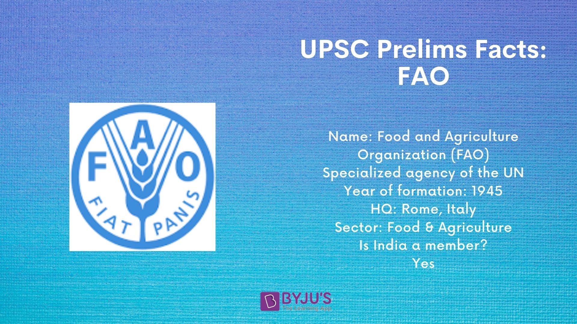 UPSC Prelims Facts for FAO