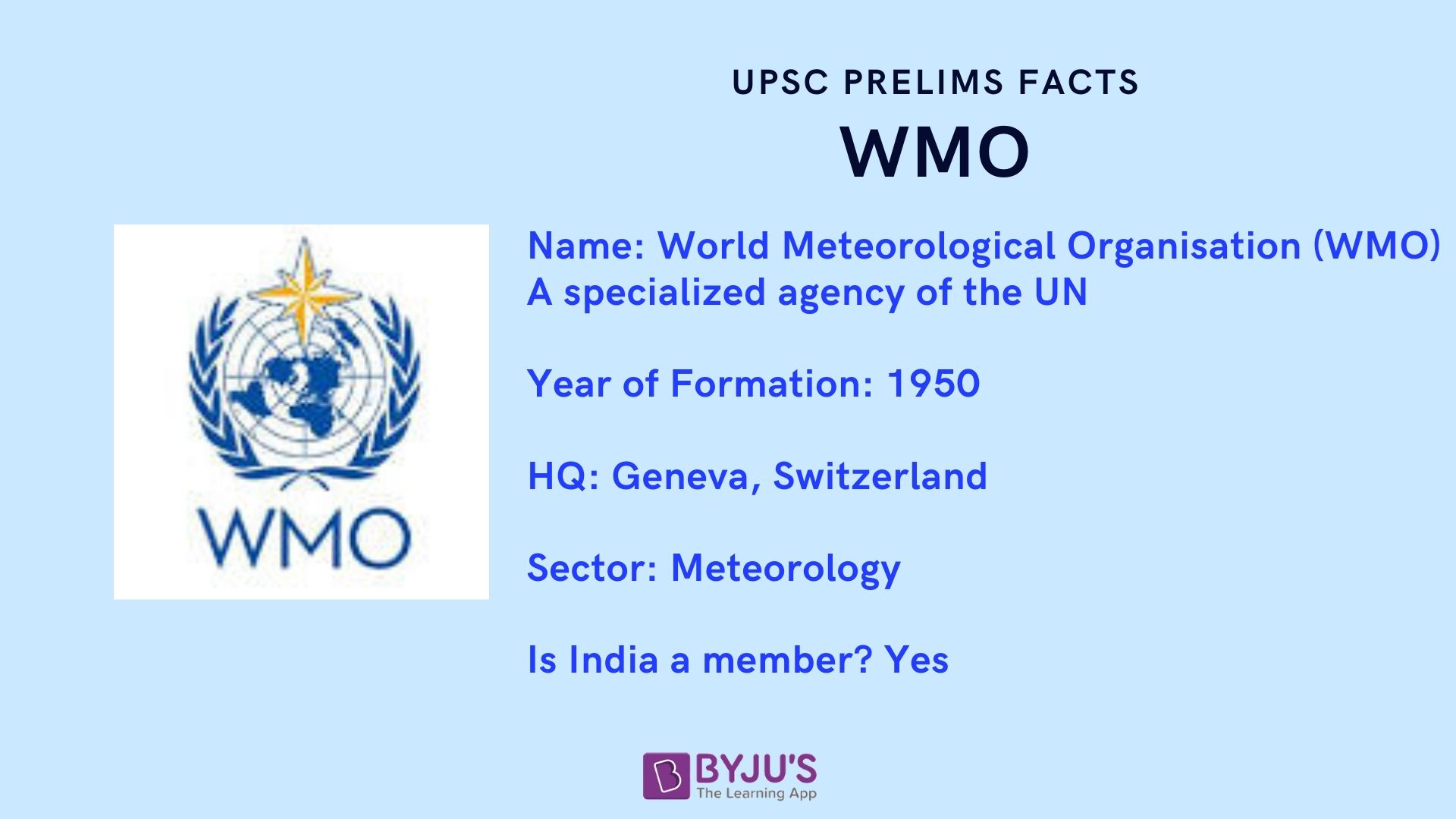 UPSC Prelims Facts - WMO