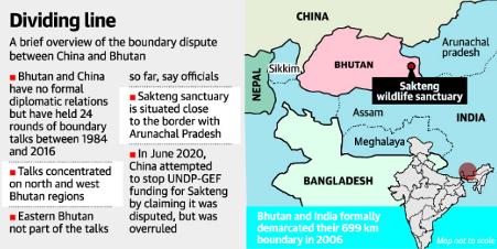 India - China - Bhutan Border Map