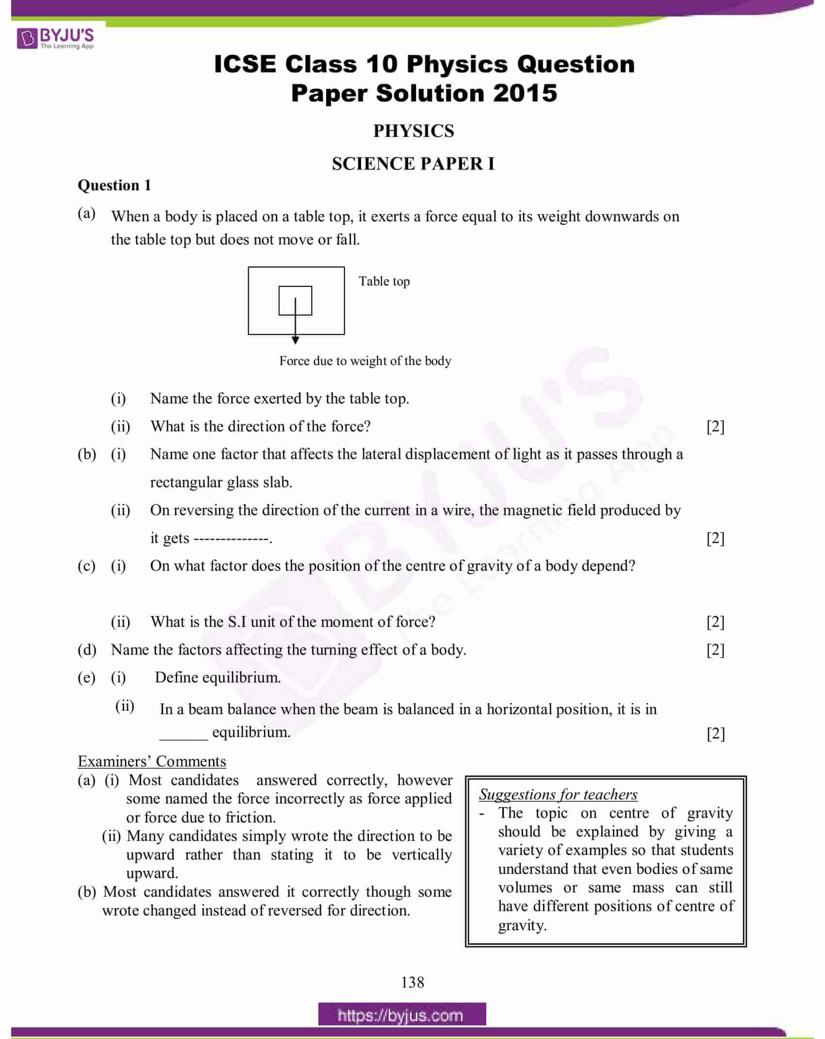 icse class 10 physics question paper solution 2015 01