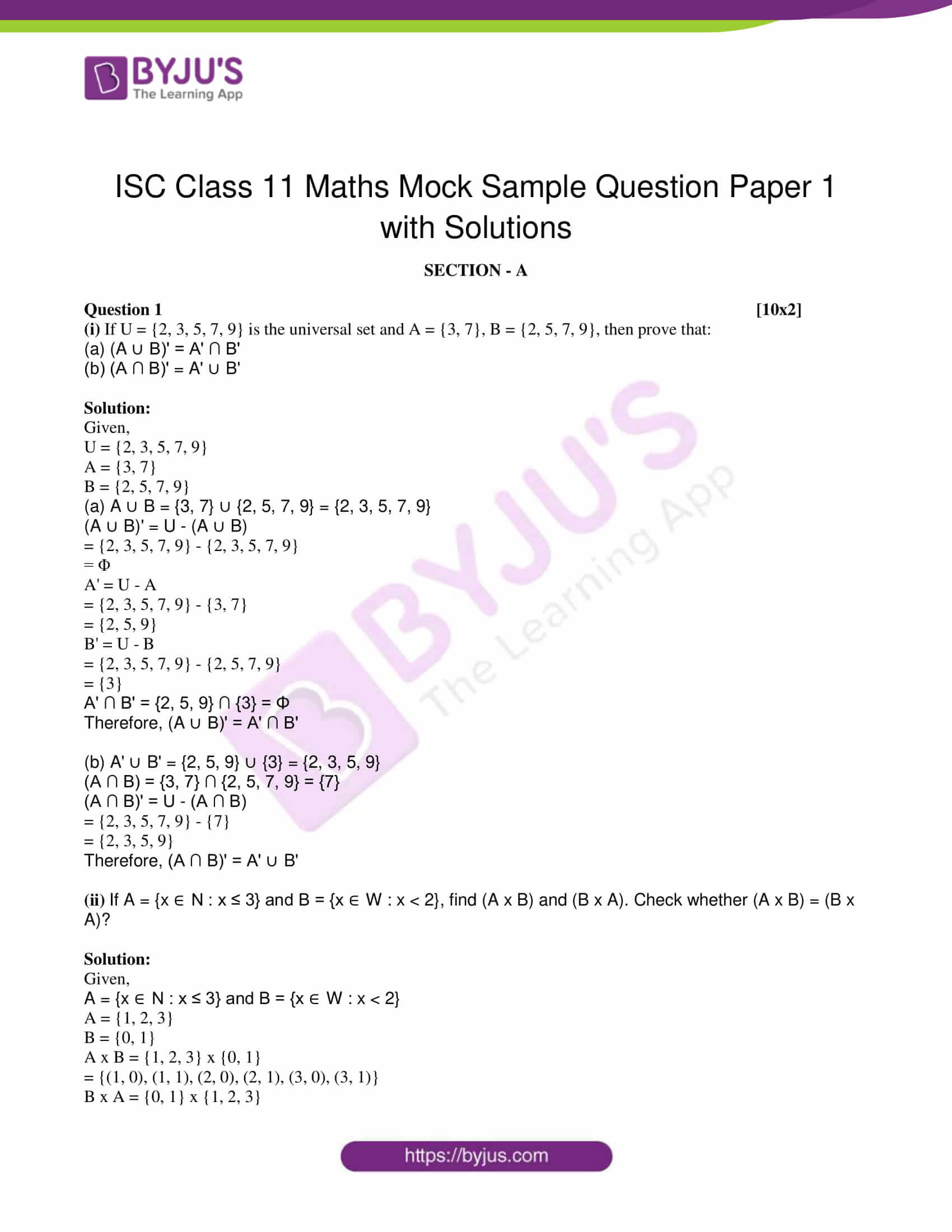 isc class 11 maths mock question paper with solution 1 01