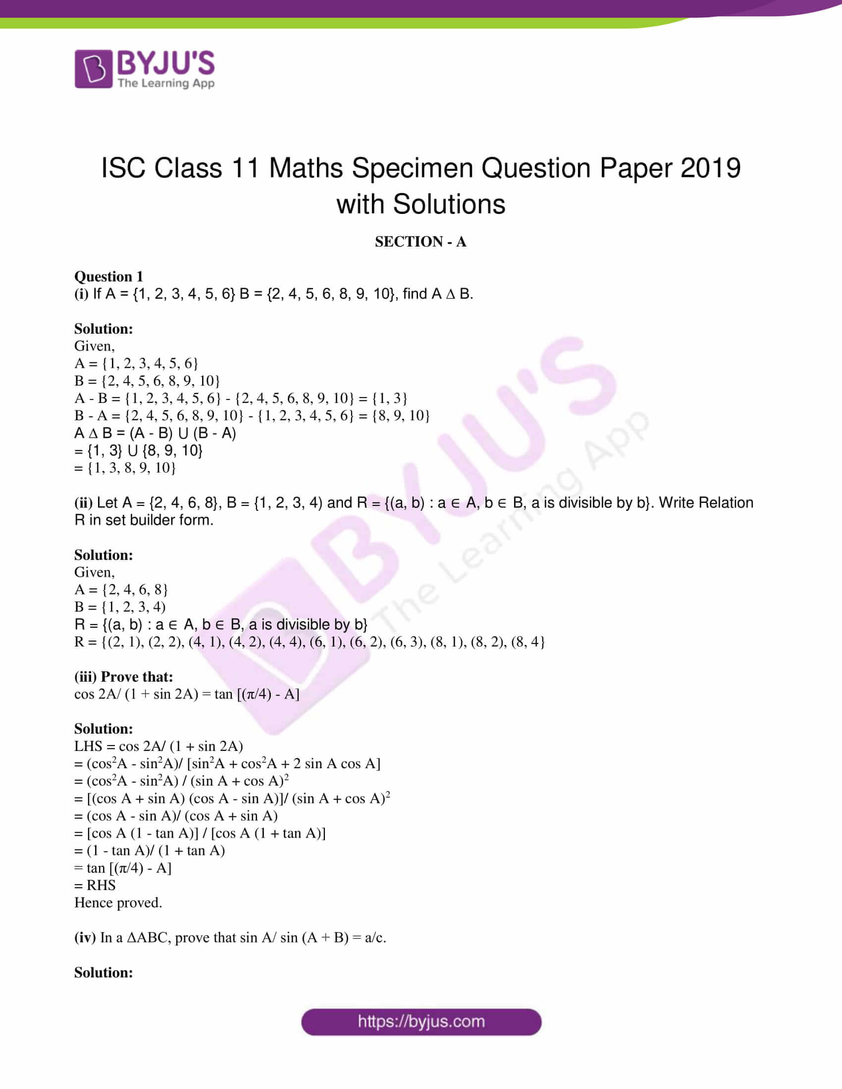 isc class 11 maths specimen question paper with solutions 2019 01