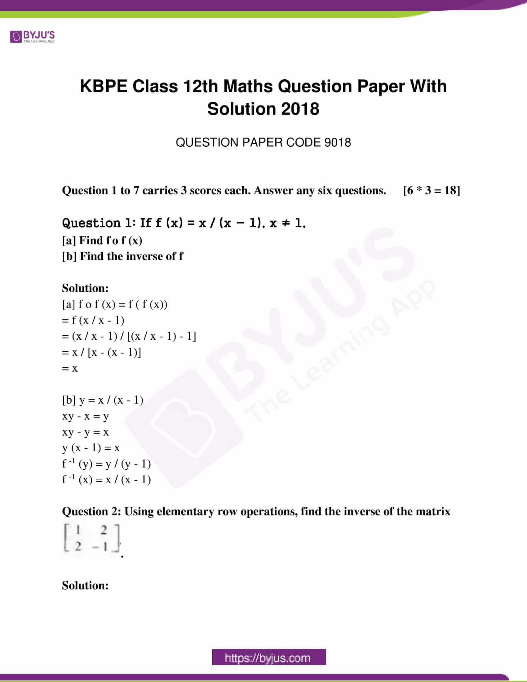 kerala class 12 examination question paper solutions march 2018 01