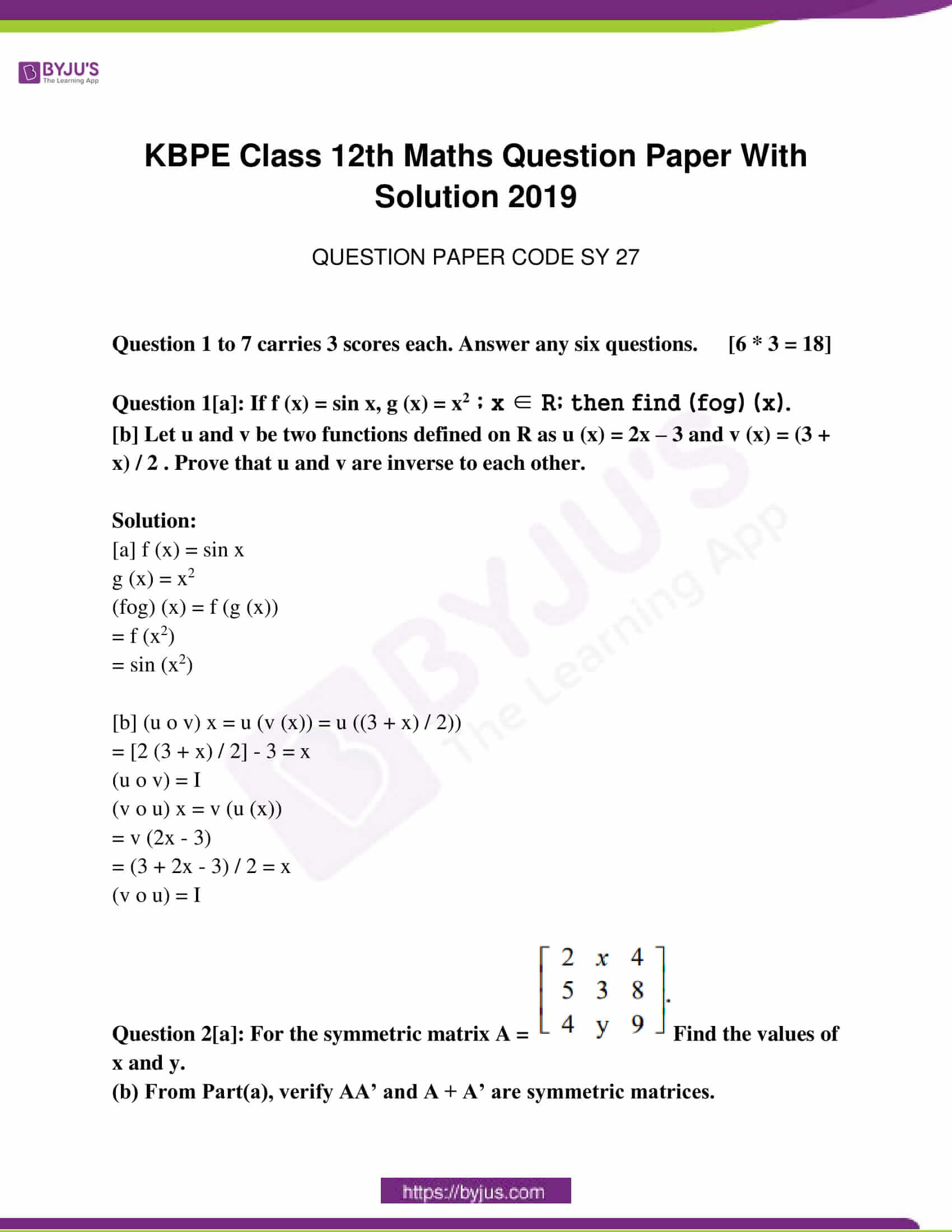 kerala class 12 examination question paper solutions march 2019 01
