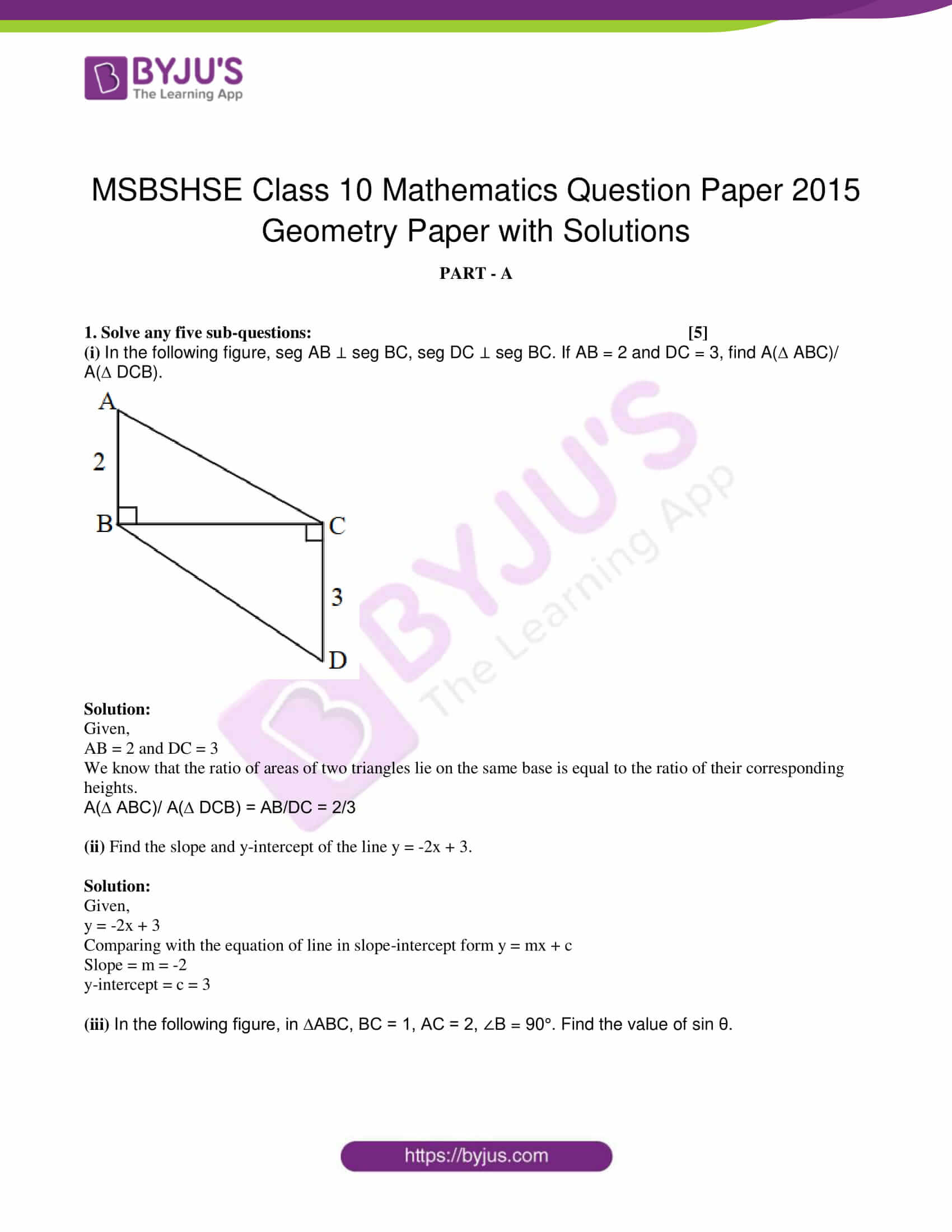 msbshse class 10 geometry mathematics Q and A 2015 01