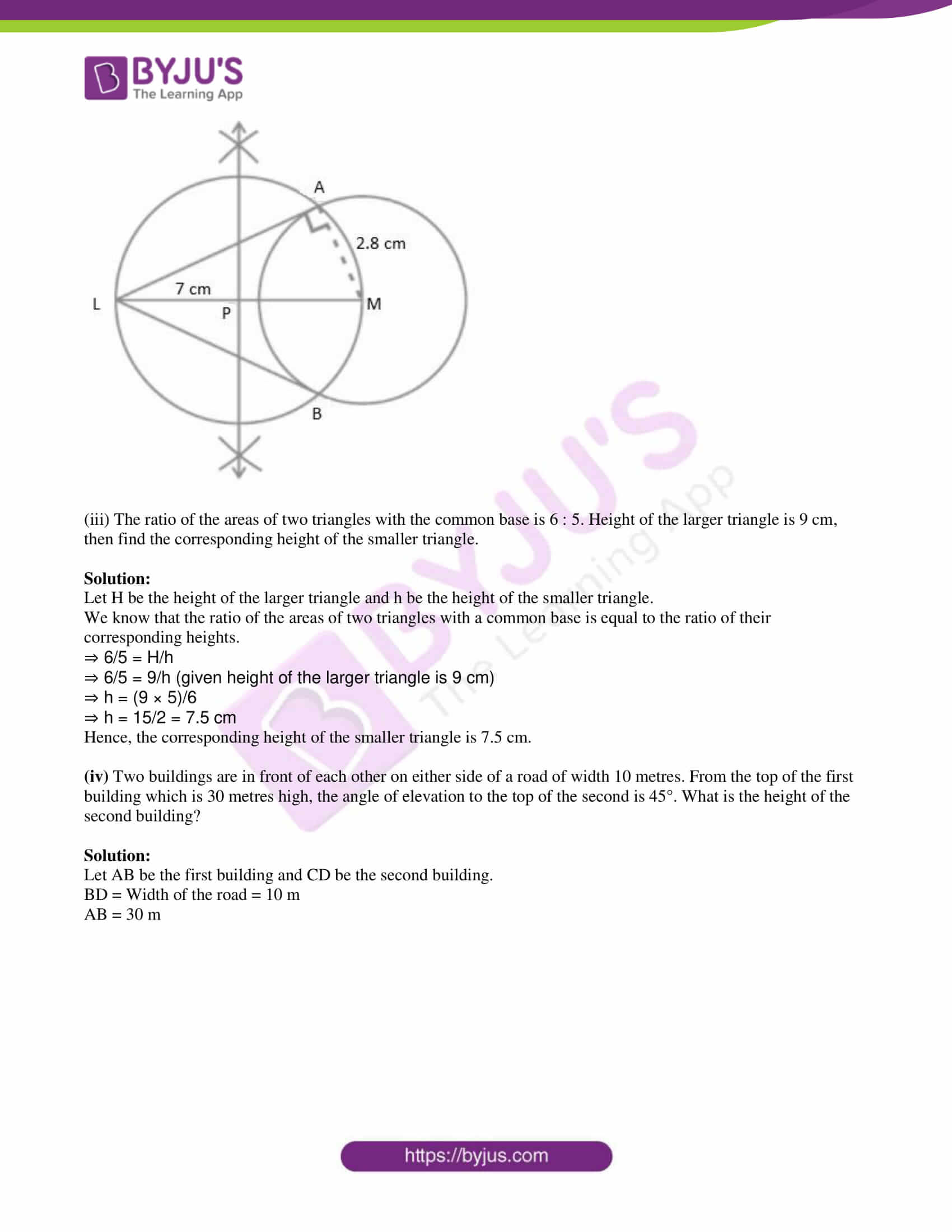 msbshse class 10 geometry mathematics Q and A 2015 06
