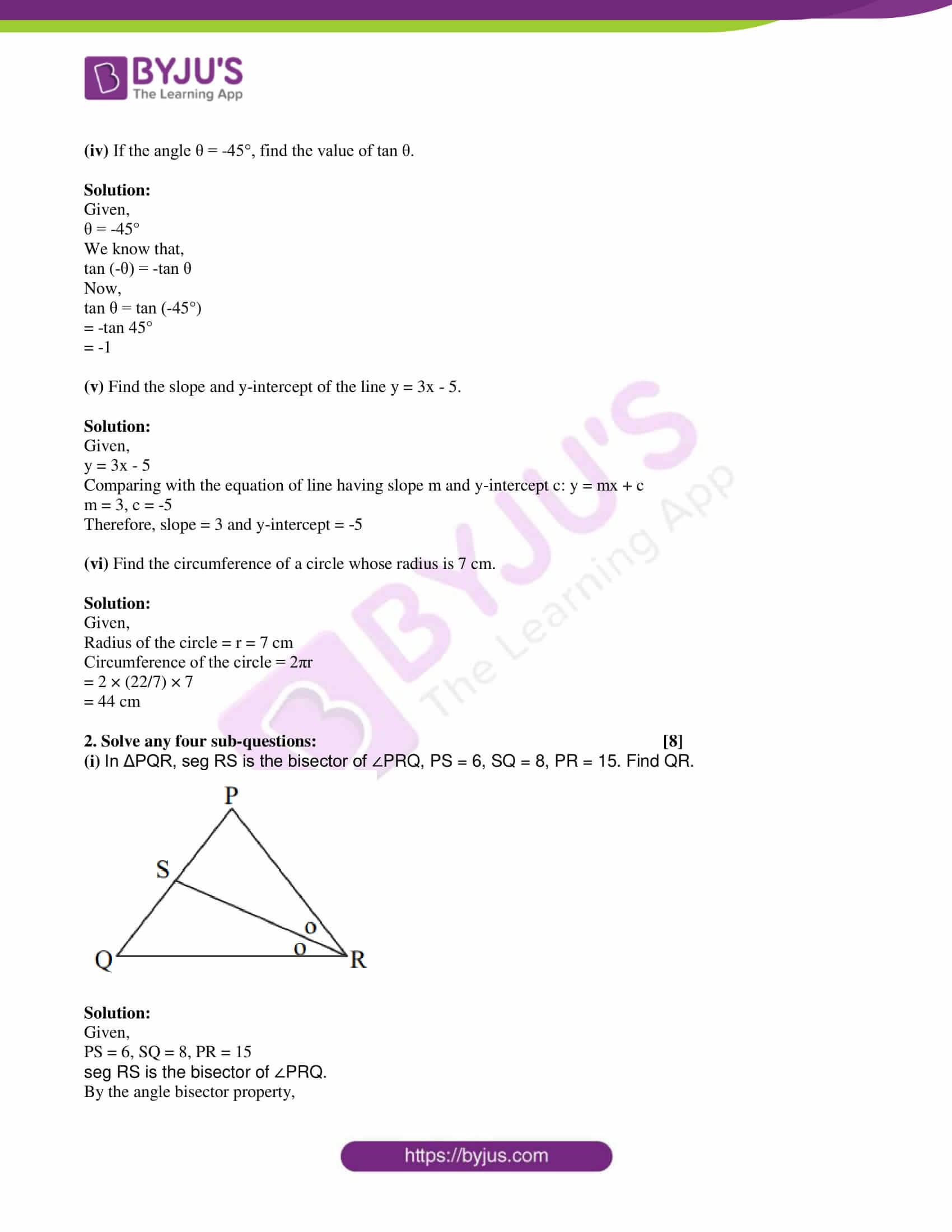 msbshse class 10 geometry mathematics Q and A 2017 02