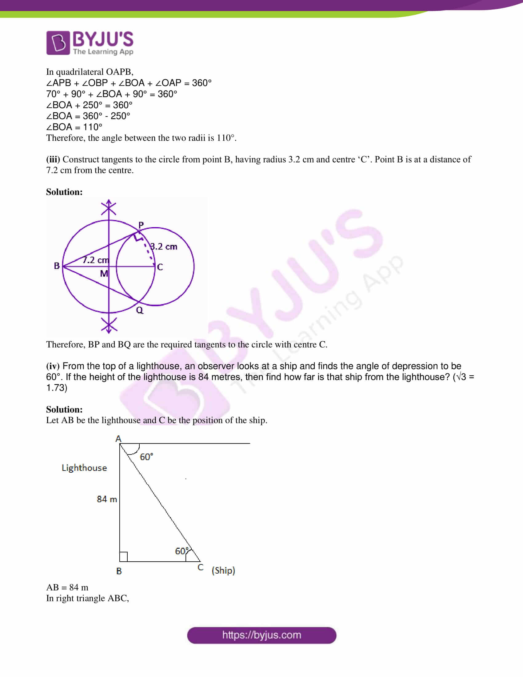 msbshse class 10 geometry mathematics Q and A 2017 06