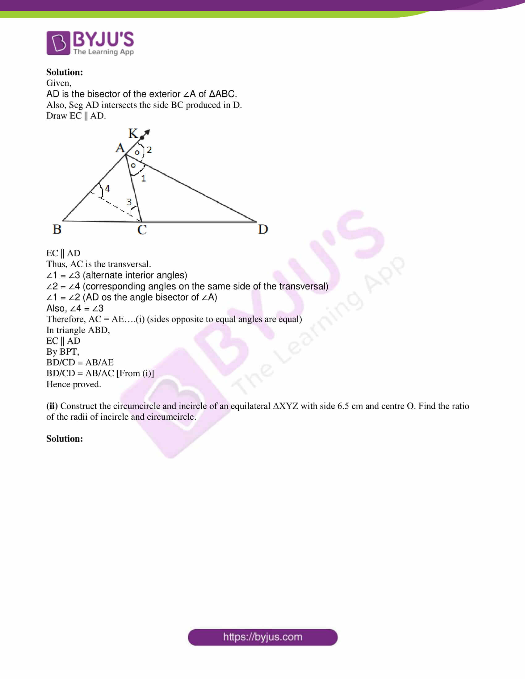 msbshse class 10 geometry mathematics Q and A 2017 10