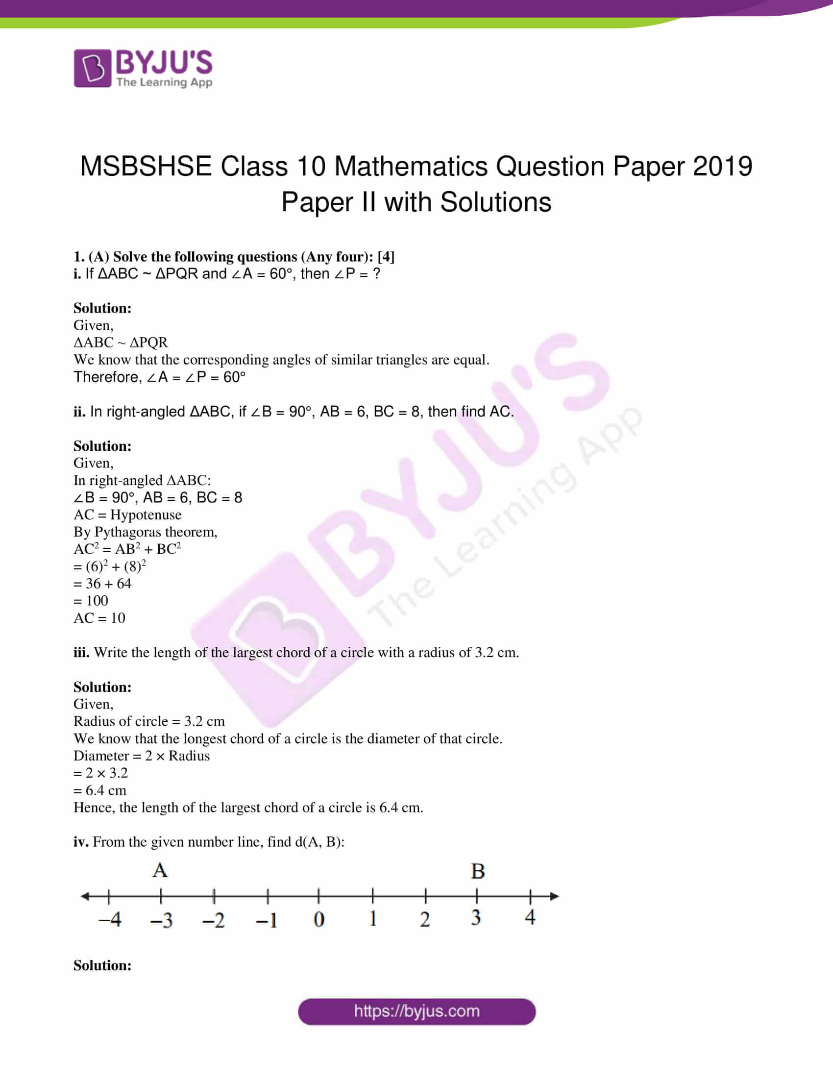 msbshse class 10 geometry mathematics Q and A 2019 01