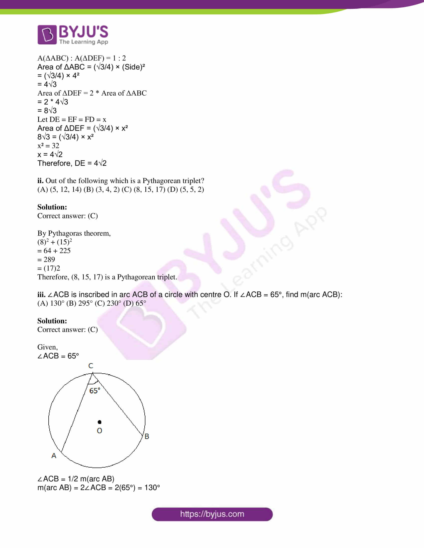 msbshse class 10 geometry mathematics Q and A 2019 04