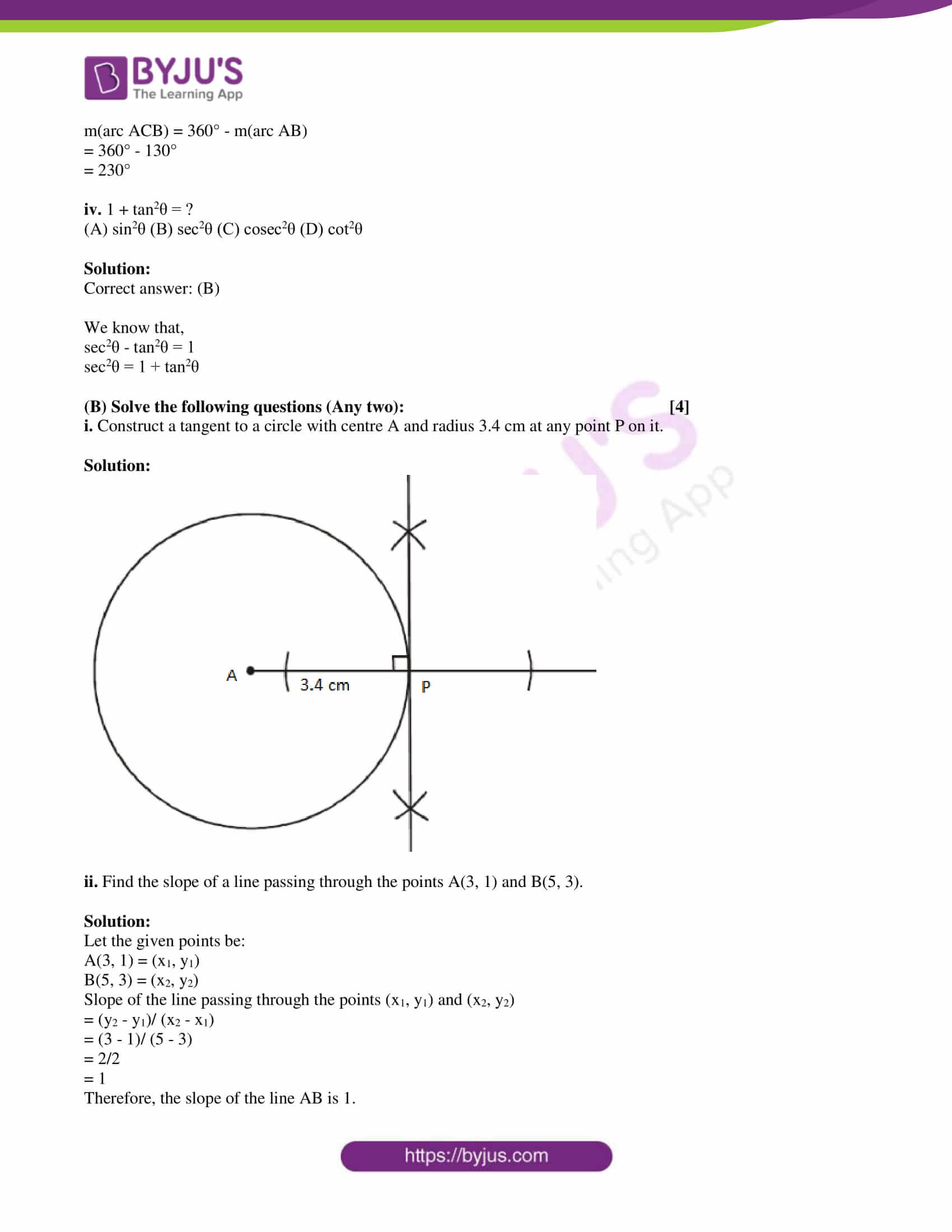 msbshse class 10 geometry mathematics Q and A 2019 05