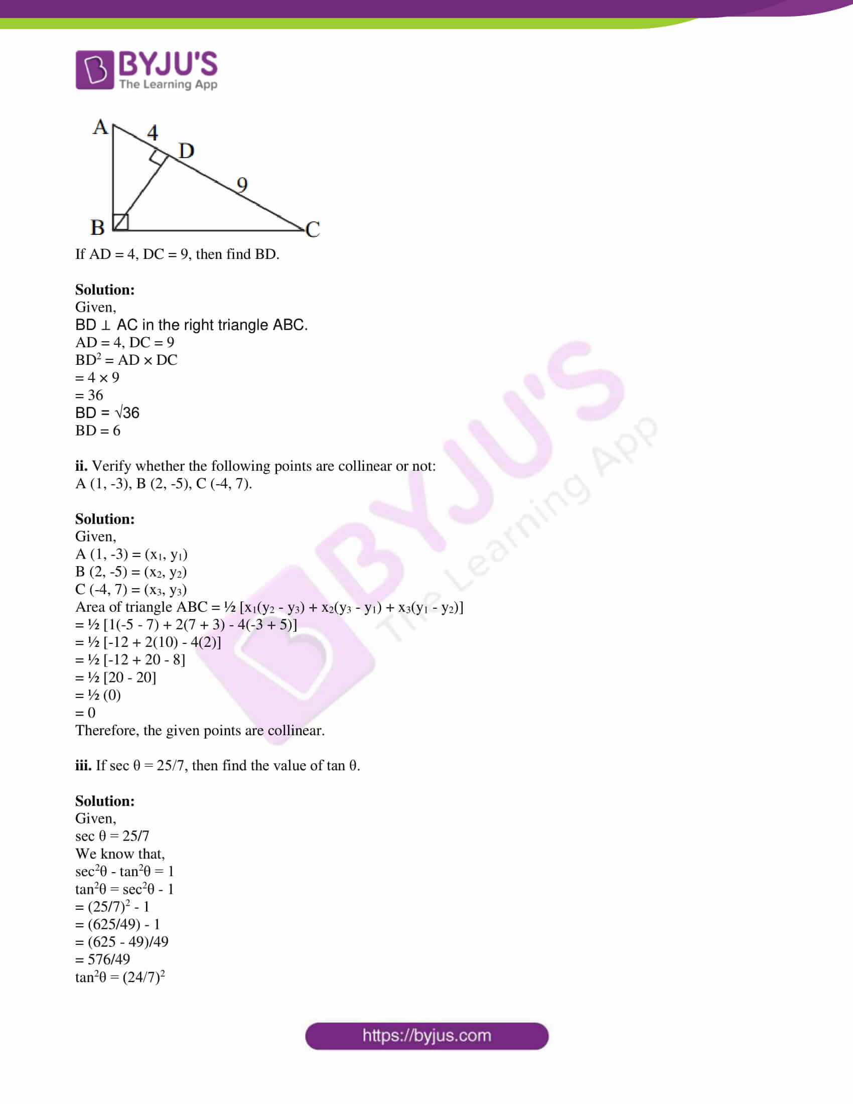 msbshse class 10 geometry mathematics Q and A 2019 09