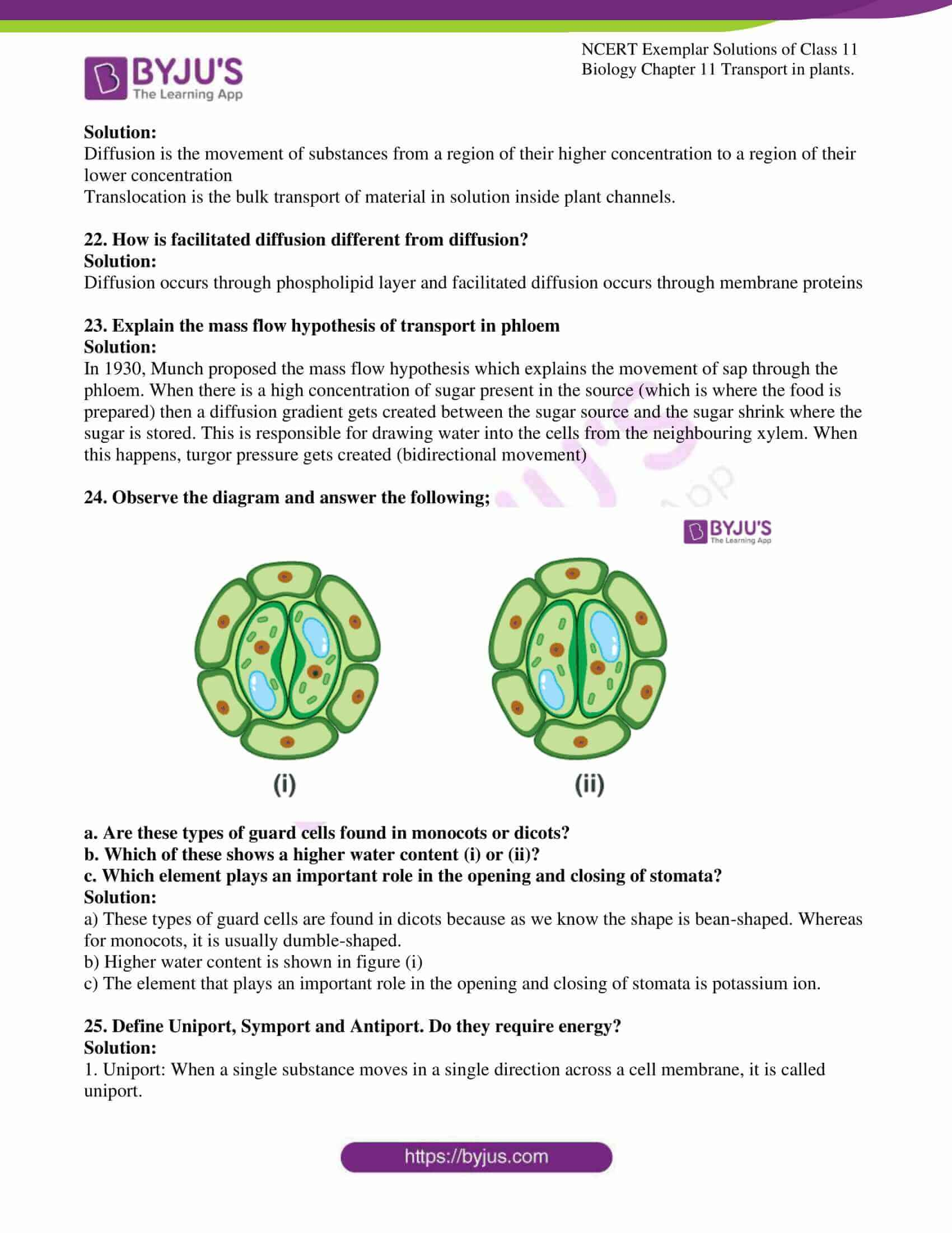 ncert exemplar solutions for class 11 bio chapter 11 12