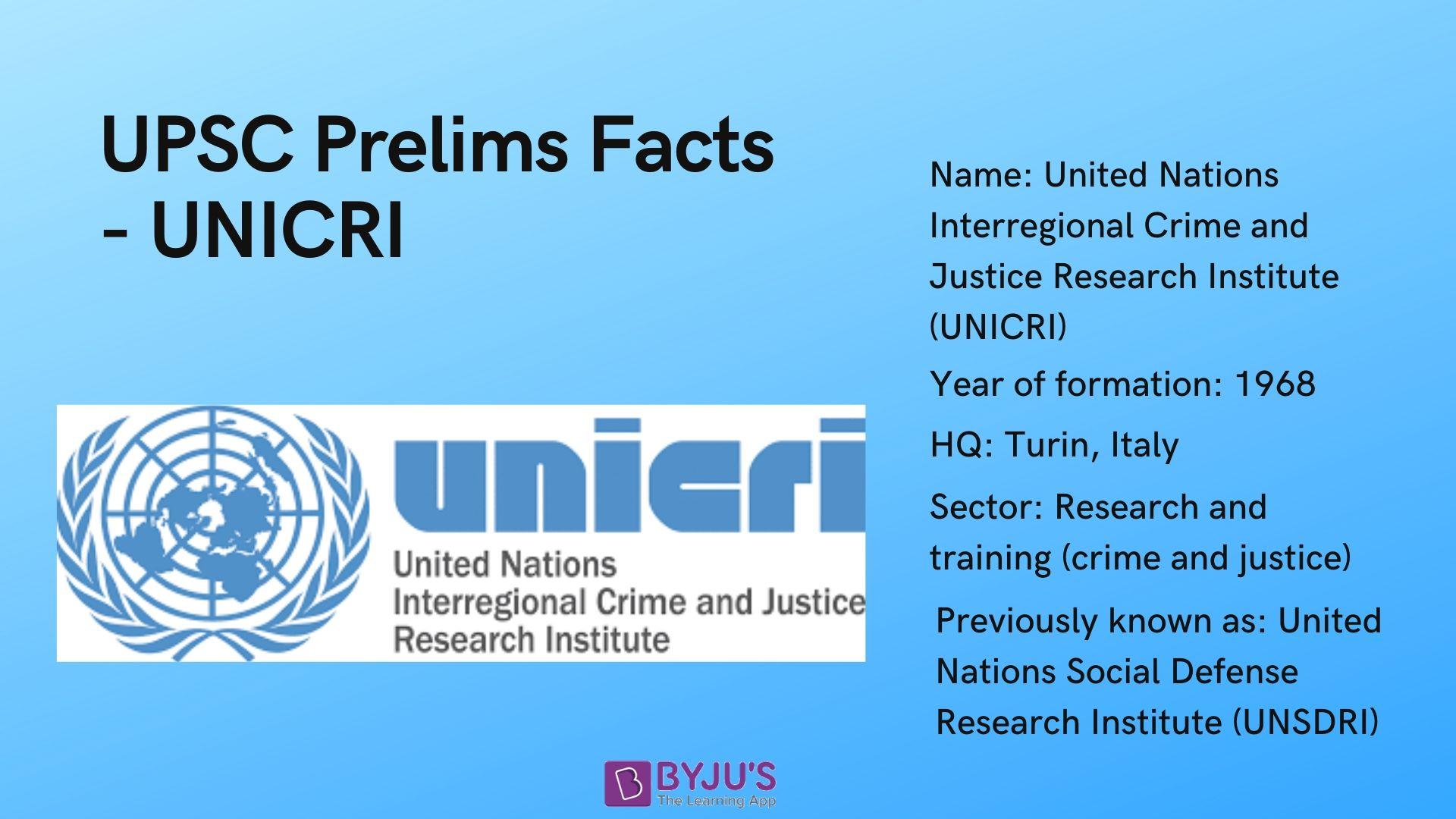 UNICRI - UPSC Prelims Facts
