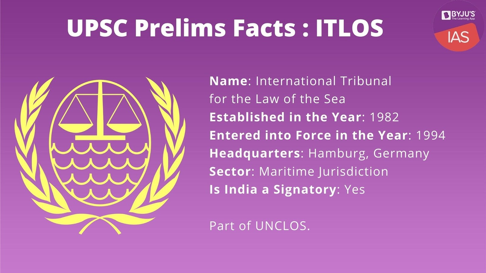 UPSC Prelims Facts - ITLOS
