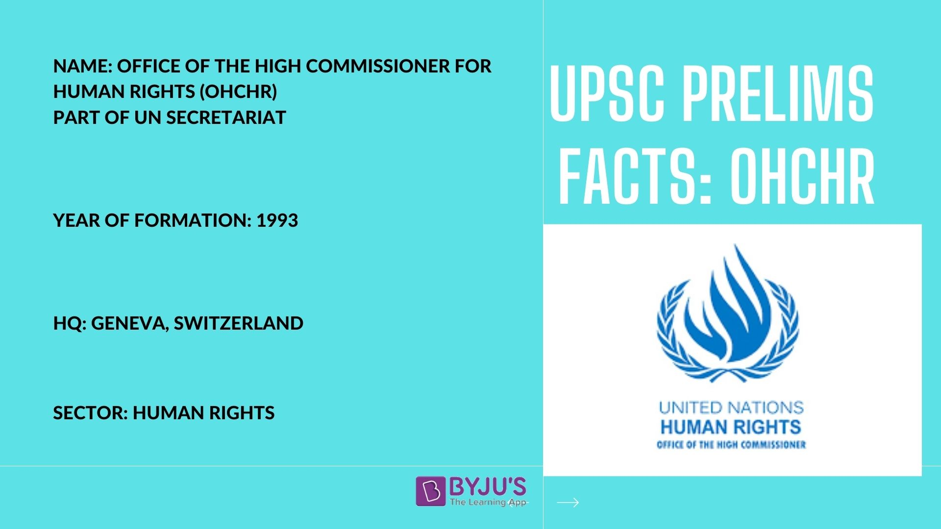 UPSC Prelims Facts - OHCHR