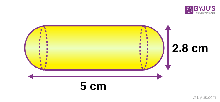 A gulab jamun contains sugar syrup up to about 30% of its volume. Find approximately how much syrup should be found in 45 gulab jamuns, each shaped like a cylinder with two hemispherical ends with a length of 5 cm and diameter of 2.8 cm as shown in the below figure.