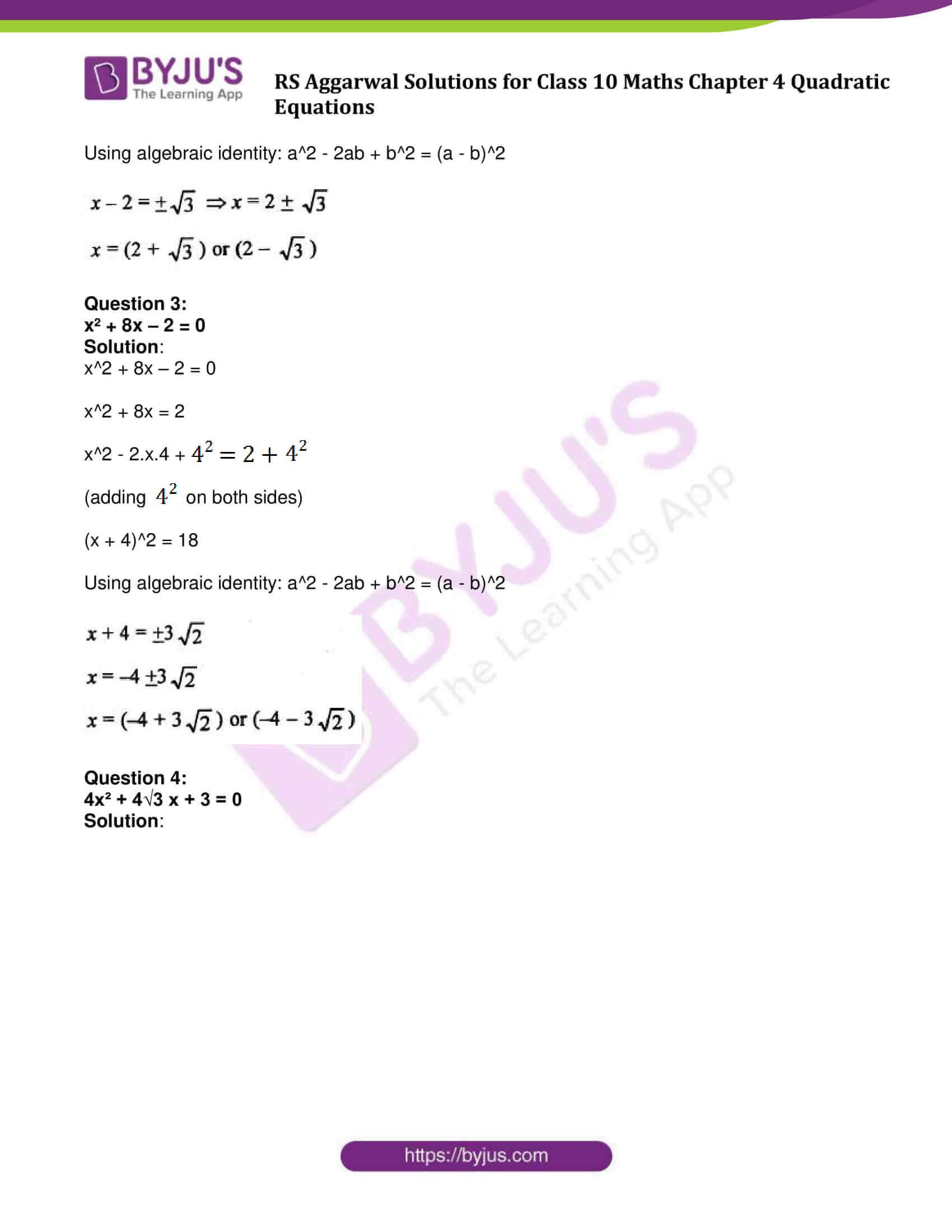 RS Aggarwal Sol class 10 Maths Chapter 4B