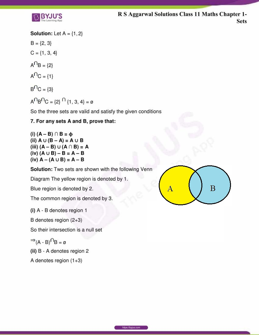 RS Aggarwal Sol Class 11 Maths Chapter 1