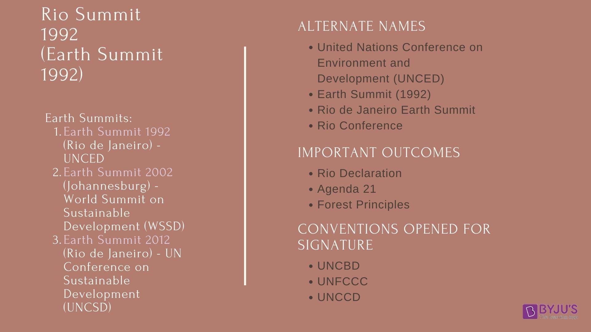 Rio Summit Details