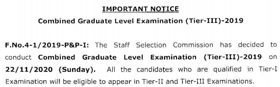 SSC CGL 2019 Tier 3 exam date