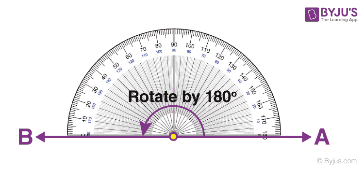 Straight angle using protractor
