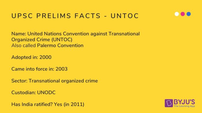UPSC Prelims Facts - UNTOC