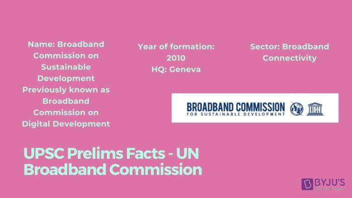 Broadband Commission - UPSC Prelims Facts
