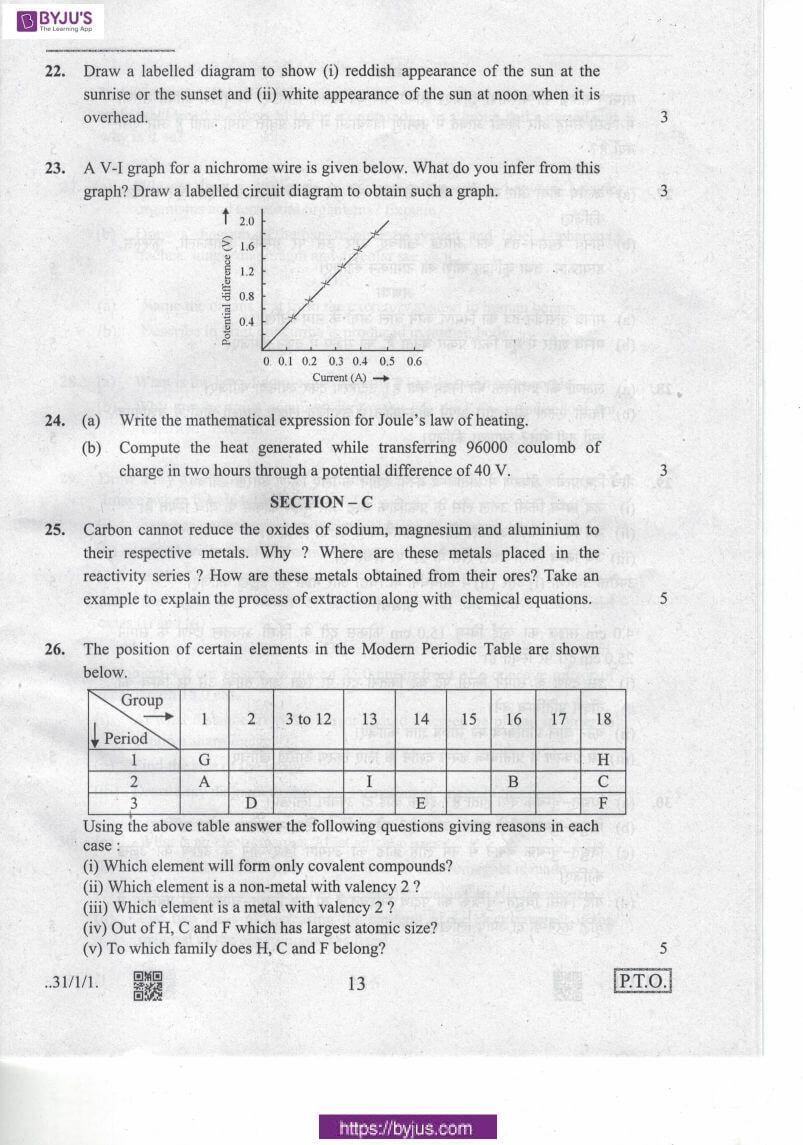cbse class 10 science 2020 question paper set 31 1 1 13