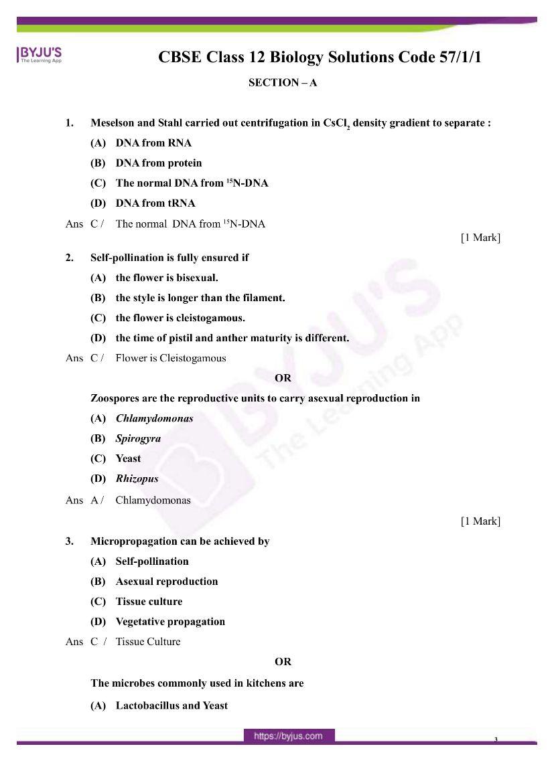 cbse class 12 biology 2020 question paper answer set 57 1 1 01