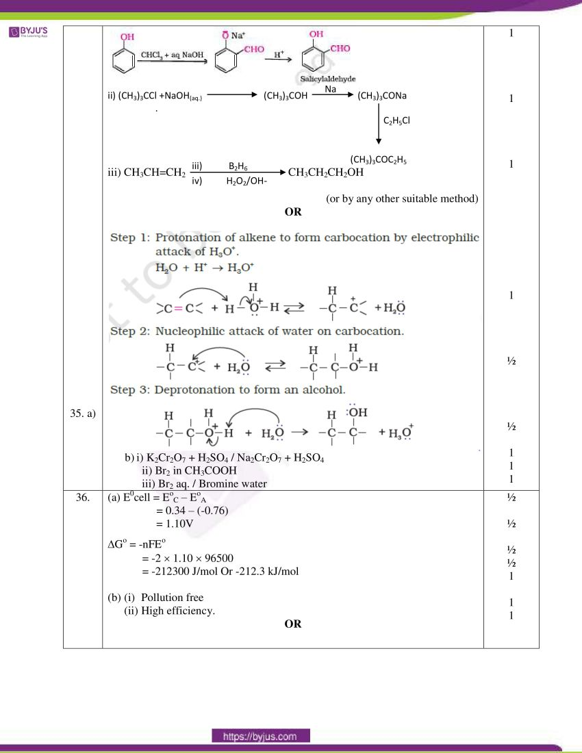 cbse class 12 chemistry 2020 question paper answer set 56 1 1 10