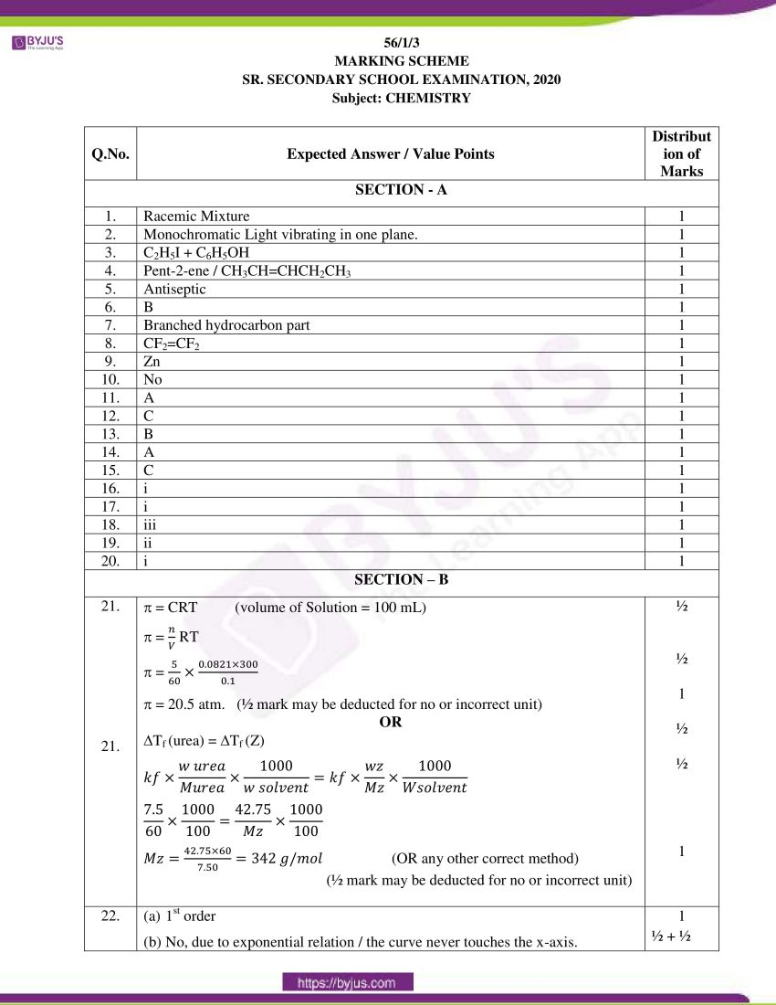 cbse class 12 chemistry 2020 question paper answer set 56 1 1 12