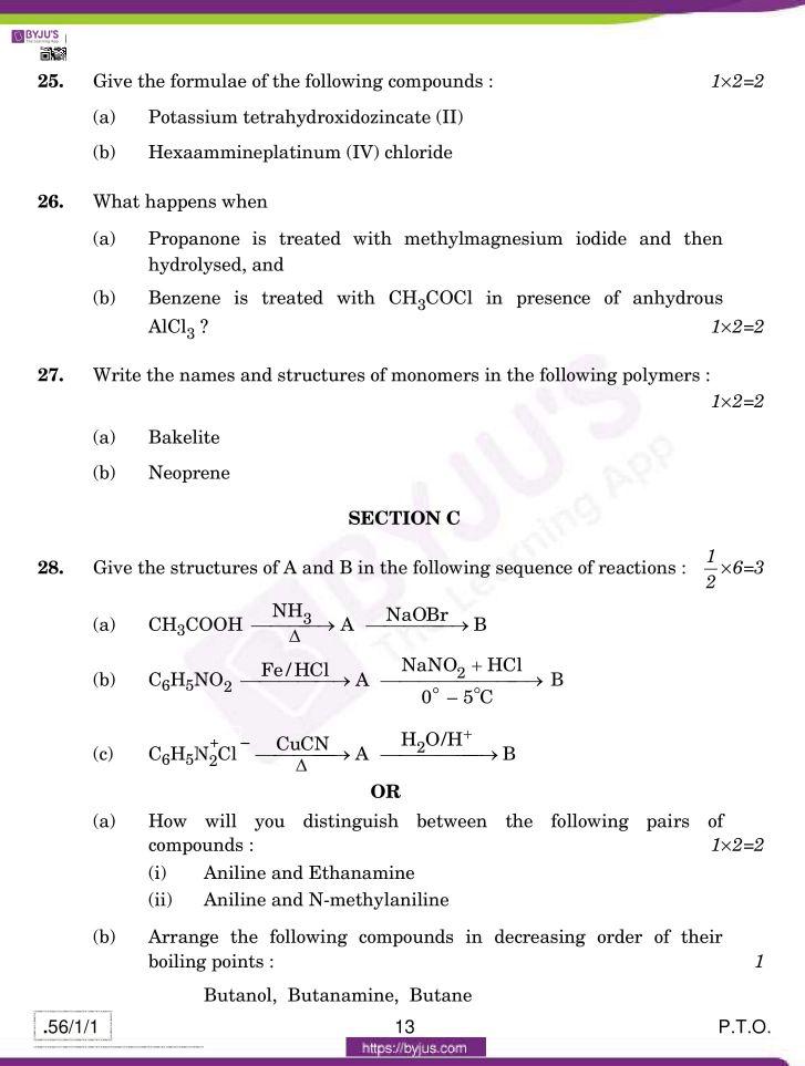 cbse class 12 chemistry 2020 question paper set 56 1 1 13