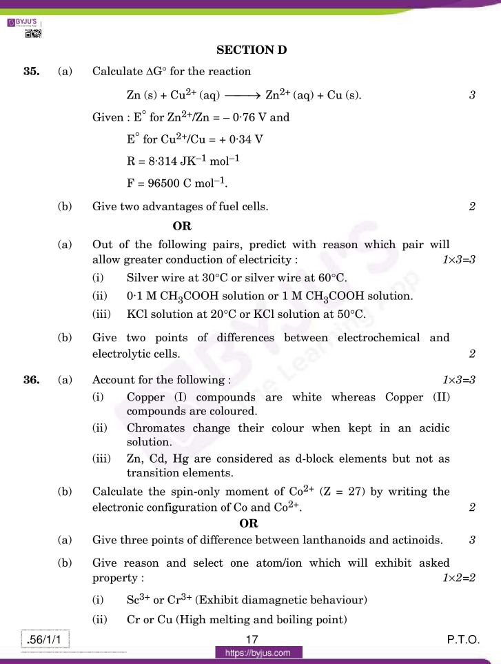cbse class 12 chemistry 2020 question paper set 56 1 1 17