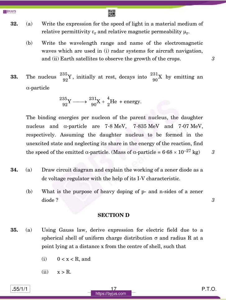 cbse class 12 physics 2020 question paper set 55 1 1 17