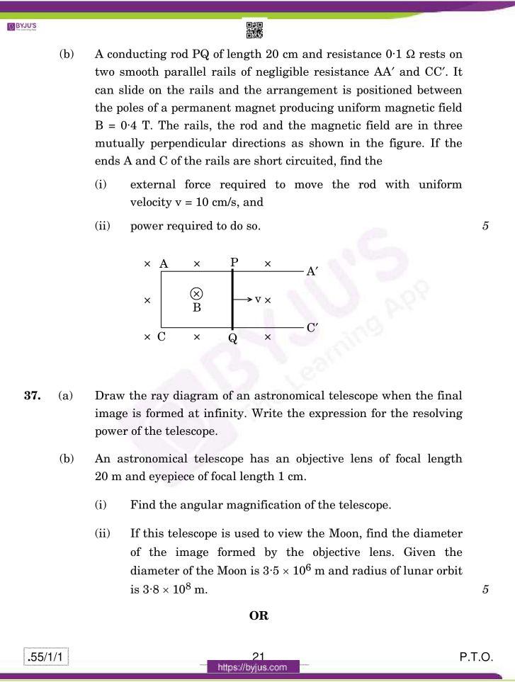 cbse class 12 physics 2020 question paper set 55 1 1 21