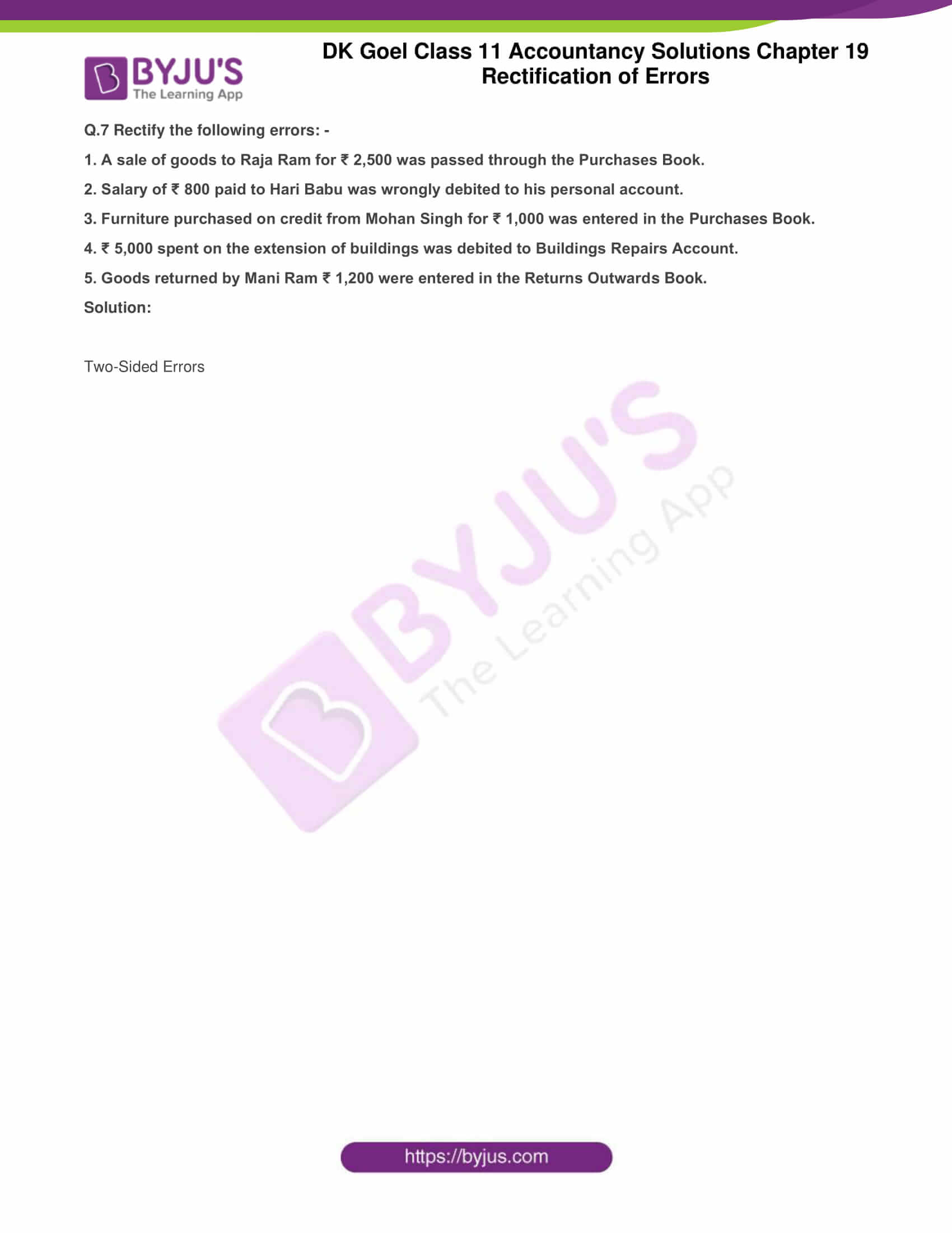 dk goel solutions class 11 accountancy chapter 19 rectification 10