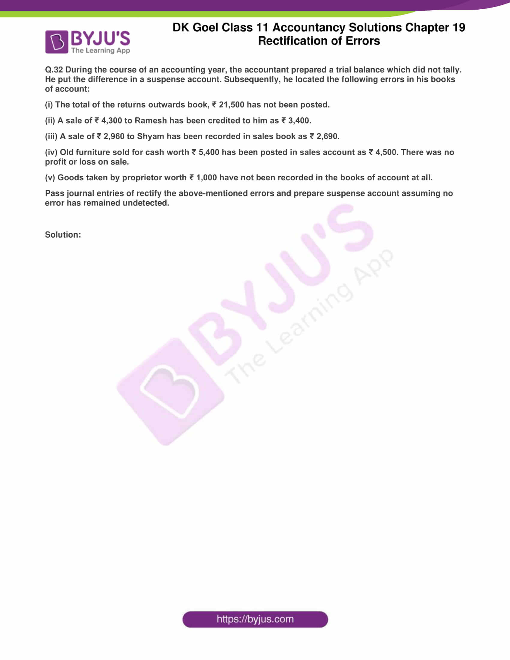 dk goel solutions class 11 accountancy chapter 19 rectification 61