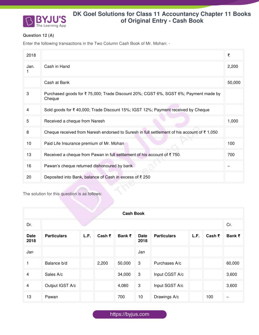 Dk goel solutions for class 11 accountancy chapter 11 27